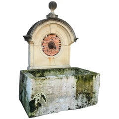 17th-18th Century Large Antique Carved Stone Wall Mount Water Fountain Feature