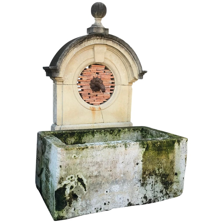 17th-18th Century Large Antique Carved Stone Wall Mount Water Fountain Feature For Sale