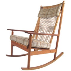 Hans Olsen Teak Rocking Chair with Cane Back