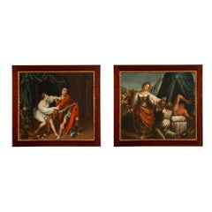 Pair of French 18th Century Oil on Canvas in Mahogany and Giltwood Frames