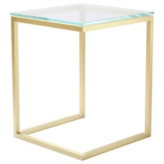 Esopo Modern Handmade Brass Side Table with Glass Square Top