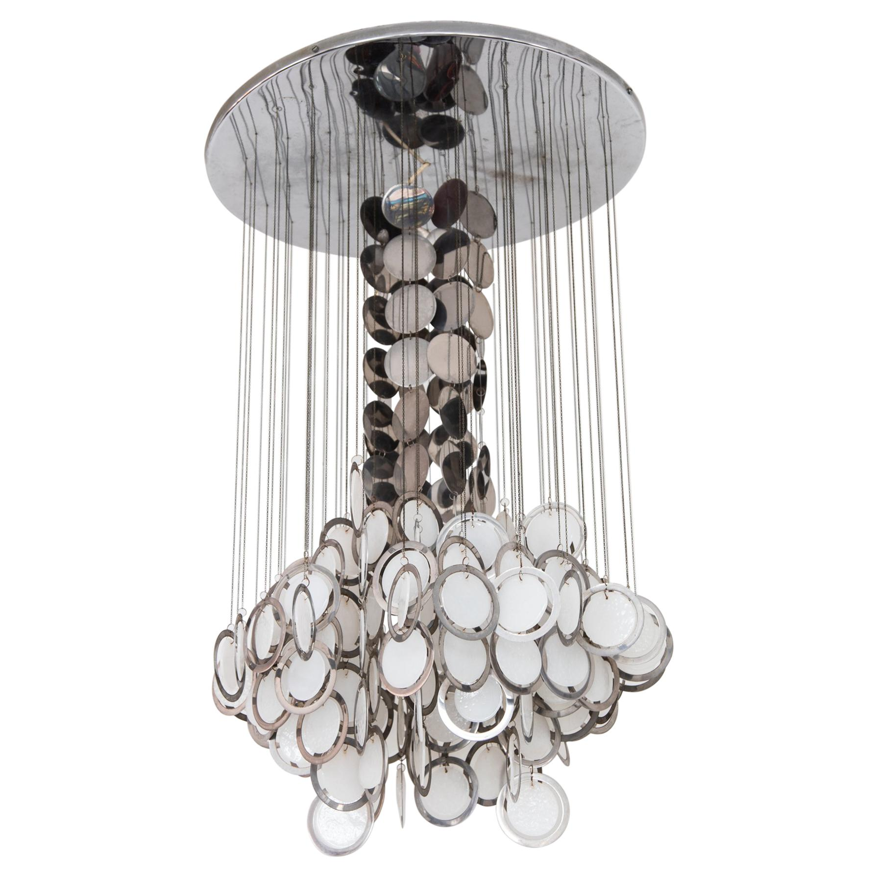 Large Vistosi Opal Glass and Chrome Discs Chandelier, Murano, Italy, 1960s