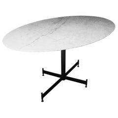 Midcentury Carrara Marble Oval White Dining Table, Italy, 1950