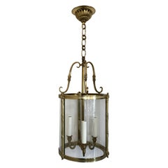 Wonderful Set of 4 Gilt Bronze Readed X-Pattern Curved Glass Lantern Fixtures