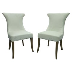 Pair of Hollywood Regency Dining Chairs with Rolled Back and Nail Head Trim