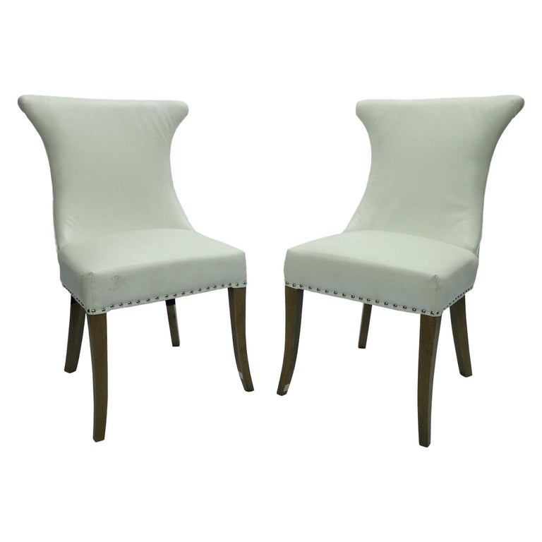 Pair of Hollywood Regency Dining Chairs with Rolled Back and Nail Head Trim For Sale