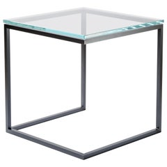 Esopo Modern Handmade Iron Side Table with Glass Square Top
