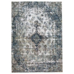 Vintage Distressed Hand-Knotted Wool Rug