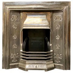 Period Art Nouveau Style Polished Steel Fireplace Insert