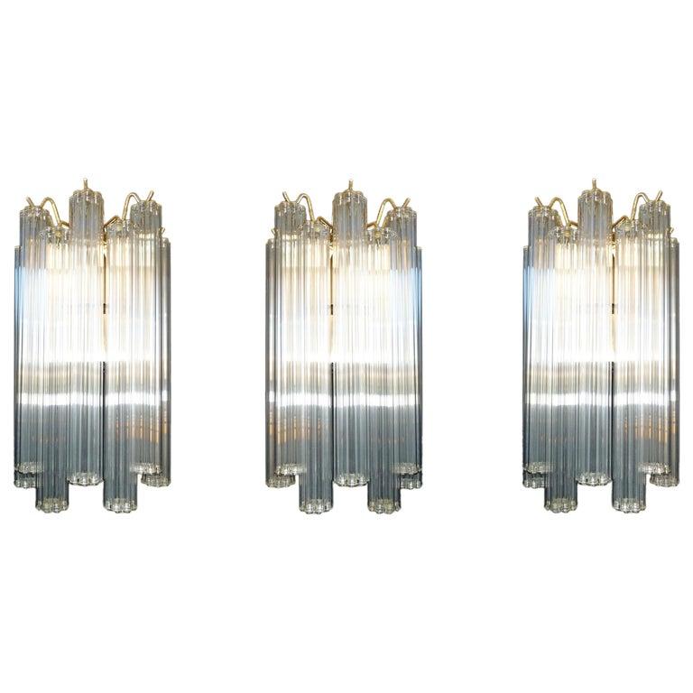 Luxury Set-3 Italian Modernist W 144 Glass Straw Tubes & Gilt Brass Wall Sconces For Sale