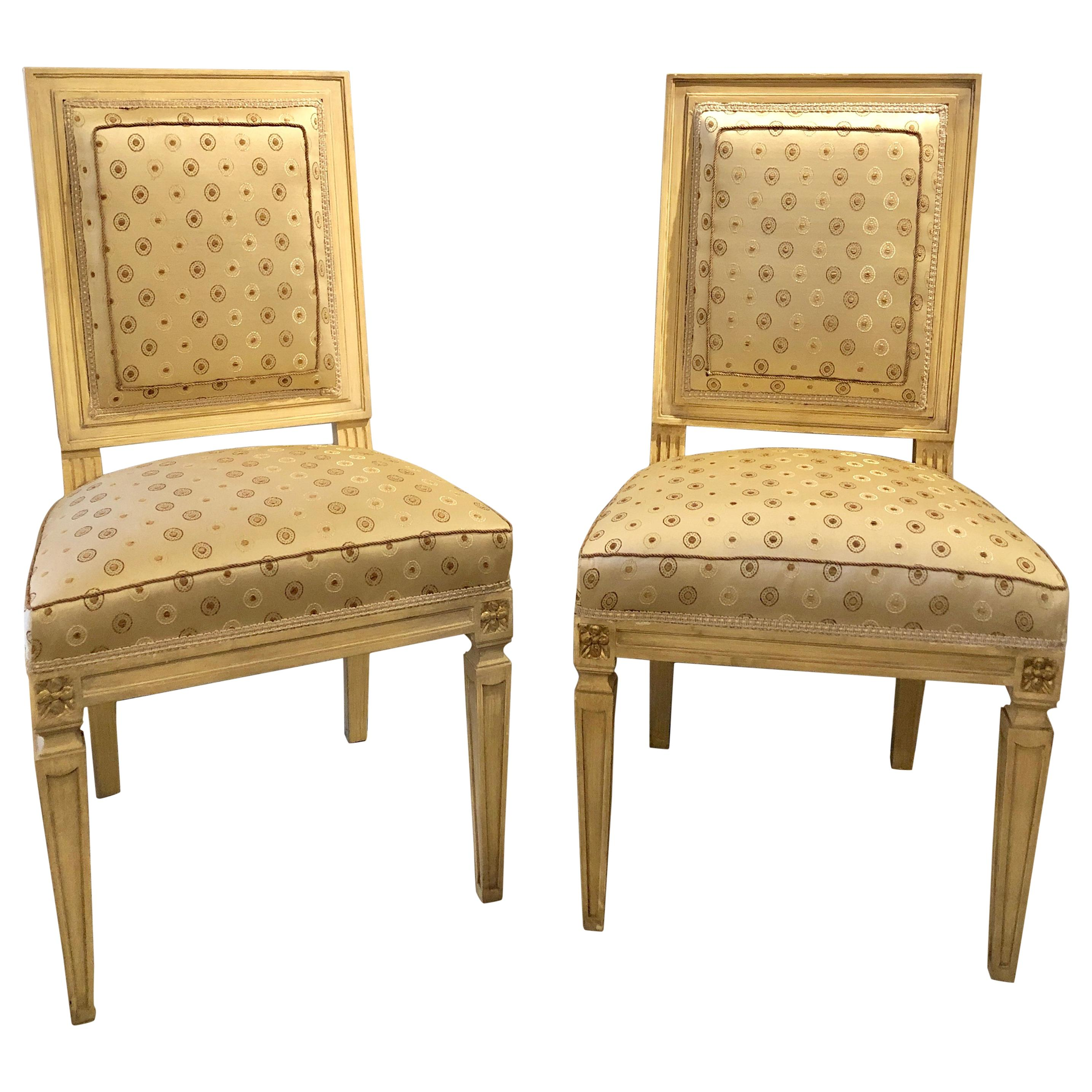 Set of Ten Jansen Style Paint Decorated & Gilt Louis XVI Style Dining Chairs