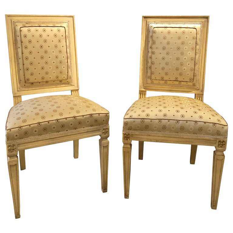 Set of Twelve Jansen Style Paint Decorated & Gilt Louis XVI Style Dining Chairs For Sale