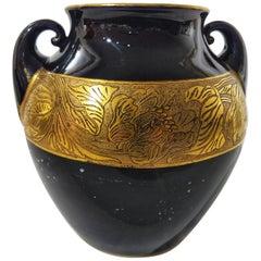 Early 20th Century Art Nouveau Fraureuth Gilded German Porcelain Vase