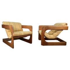 Classic 1970s Cantilvered Lounge Chairs by Lou Hodges, California Design Group