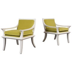 1960's Pair of Modern Velvet Lounge Chairs