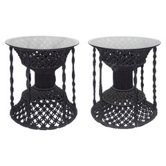 Rare Pair of Vintage 1960s Black Macrame Side Tables with Glass Tops
