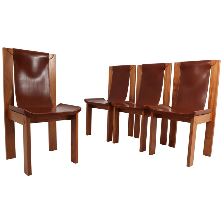Set of Four Cognac Leather Dining Chairs in Elmwood, France, 1960s For Sale