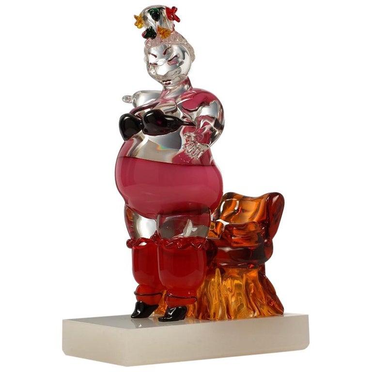 """Eva Hannah & Oscar Zanetti """"Geisha"""" Murano Glass Unique Sculpture 2001 For Sale"""