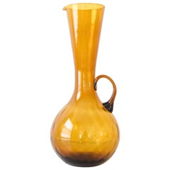 Mid Century Decorative Gold Amber Glass Pitcher or Vase
