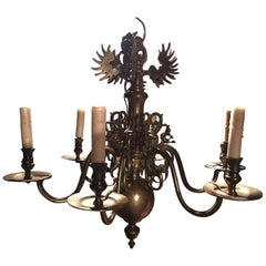 Dutch Style Six-Light Brass Chandelier with Decorative Figures, 19th Century