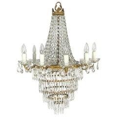 "Italian Thirteen-Light Drop Crystal Chandelier, Empire Style (26"" Diameter)"