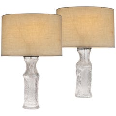 Timo Sarpaneva Pair of Midcentury Glass Lamps for Luxus