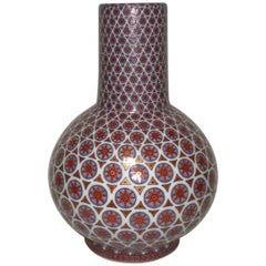 Contemporary Japanese Red Decorative Porcelain Vase by Master Artist '1931-2009'