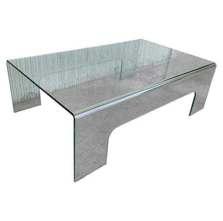 20th Century Mid-Century Modern Rectangular Curved Glass