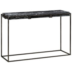 Console in Antiqued Pewter and Marble for Indoor or Outdoor