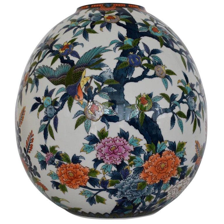 Large Japanese Blue Red Contemporary Porcelain Vase by Imari Master Artist For Sale