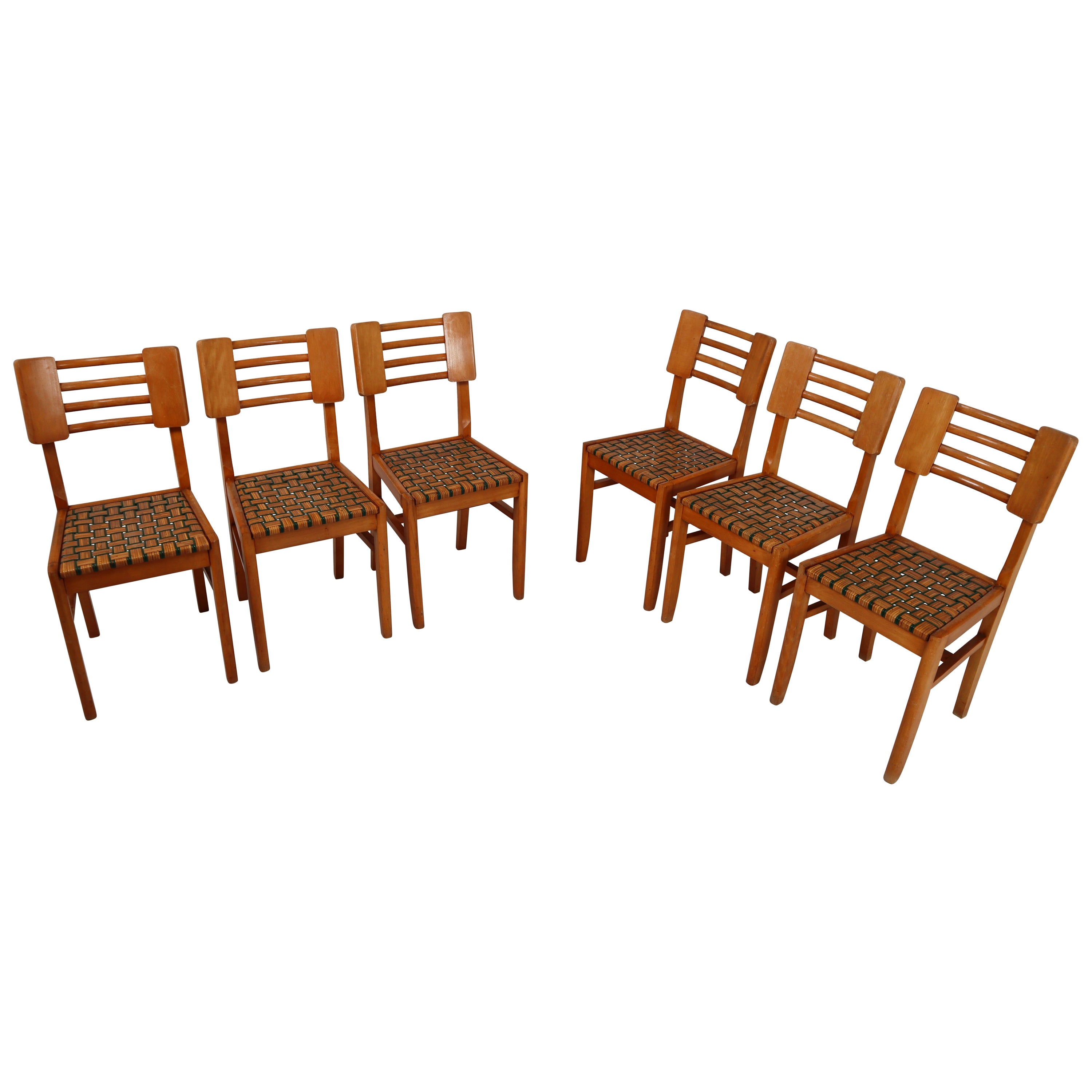 Set of Six Midcentury French Dinner Chairs, circa 1950