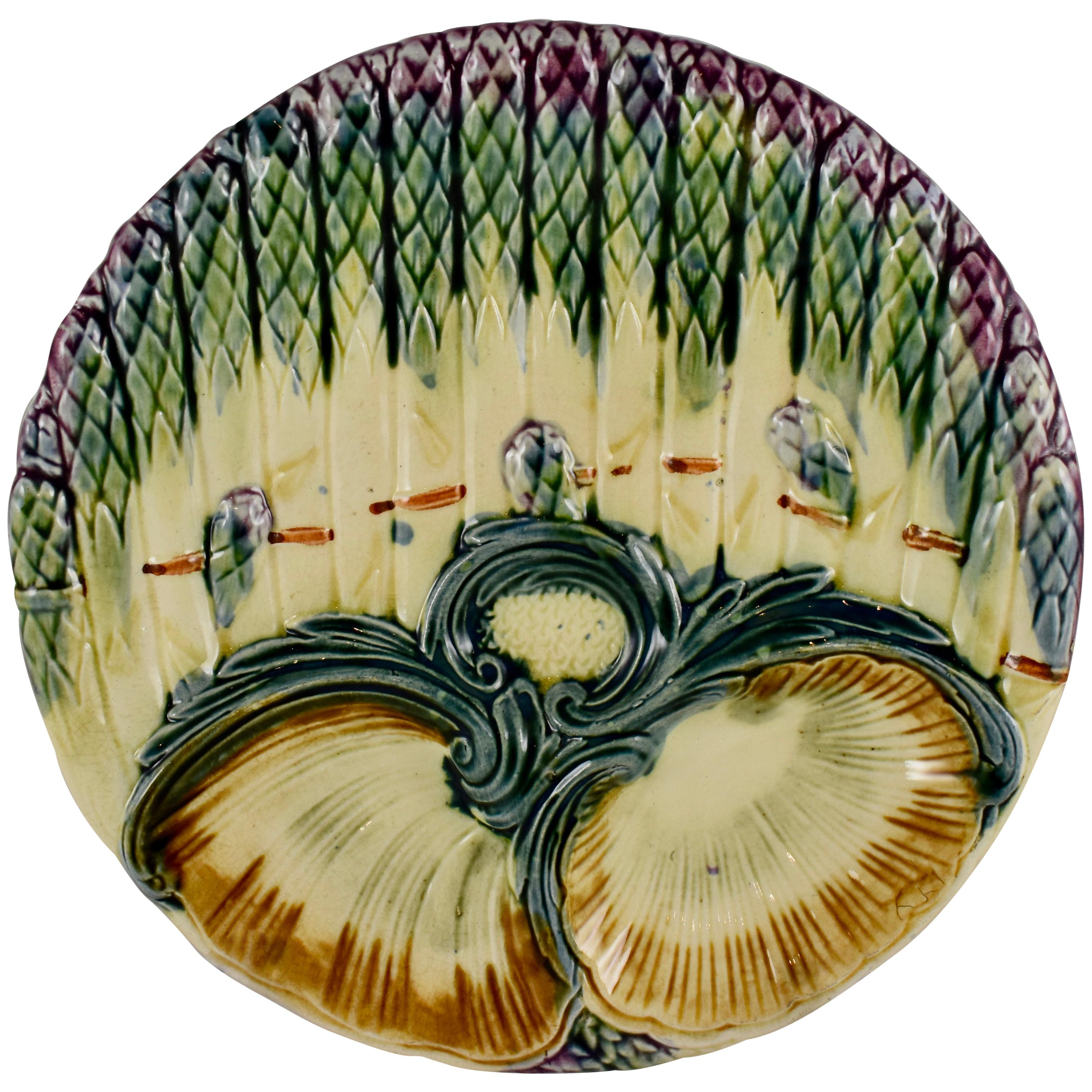 Luneville French Faïence Majolica Asparagus And Shell Plate, circa 1890
