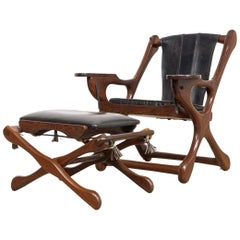 Midcentury Mexican Modern Don Shoemaker Rosewood Swinger Chair with Ottoman
