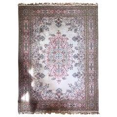 Turkish Large Carpet Kilim Pink Blue Floral Motives Elegant Asian Design SALE