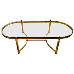 Hollywood Regency Style Heavy Brass Oval Coffee Table with a Glass Top