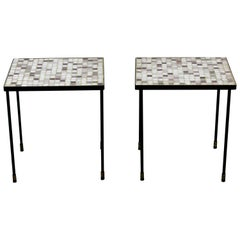 Mid-Century Modern Pair of Murano Glass Tile Top Iron Side Tables 1960s Purple