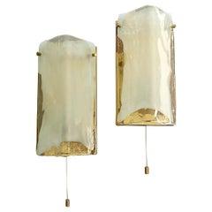 Signed Pair of J.T. Kalmar Sconces Brass Clear White Murano Glass Austria, 1970s