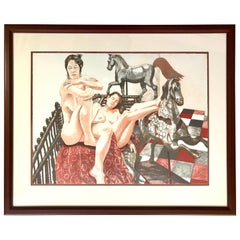 """Philip Pearlstein """"Models and Horses"""" Signed Lithograph"""
