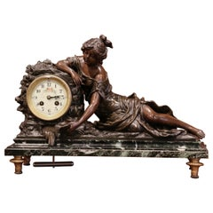 19th Century French Bronze and Marble Mantel Clock Signed L & F Moreau