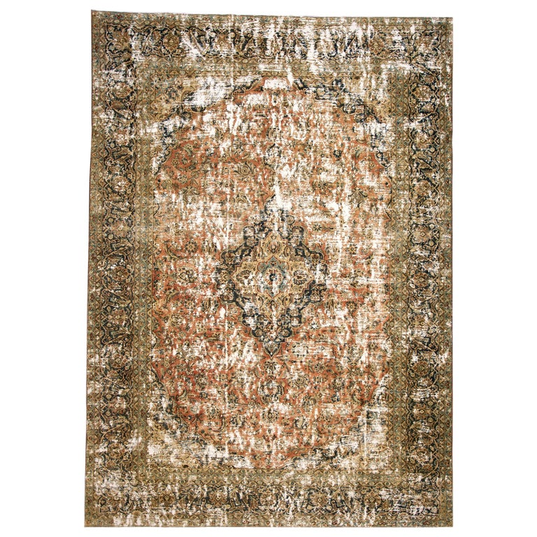 a7ffa25f00 Vintage Distressed Hand Knotted Wool Rug For Sale at 1stdibs