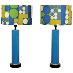 Mid-Century Modern Monumental Pair of Blue Ceramic Table Lamps Panton Shades