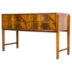 Midcentury Burl Wood Sideboard Credenza with Glass Top, 1960s