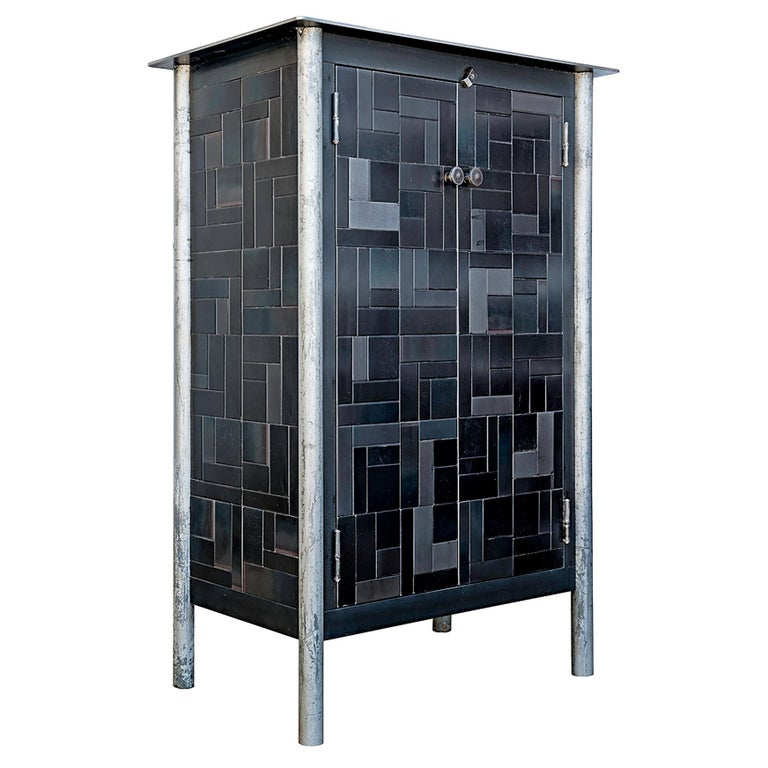 Jim Rose Half Housetop Gee's Inspired Quilt Cupboard, Steel Art Furniture For Sale