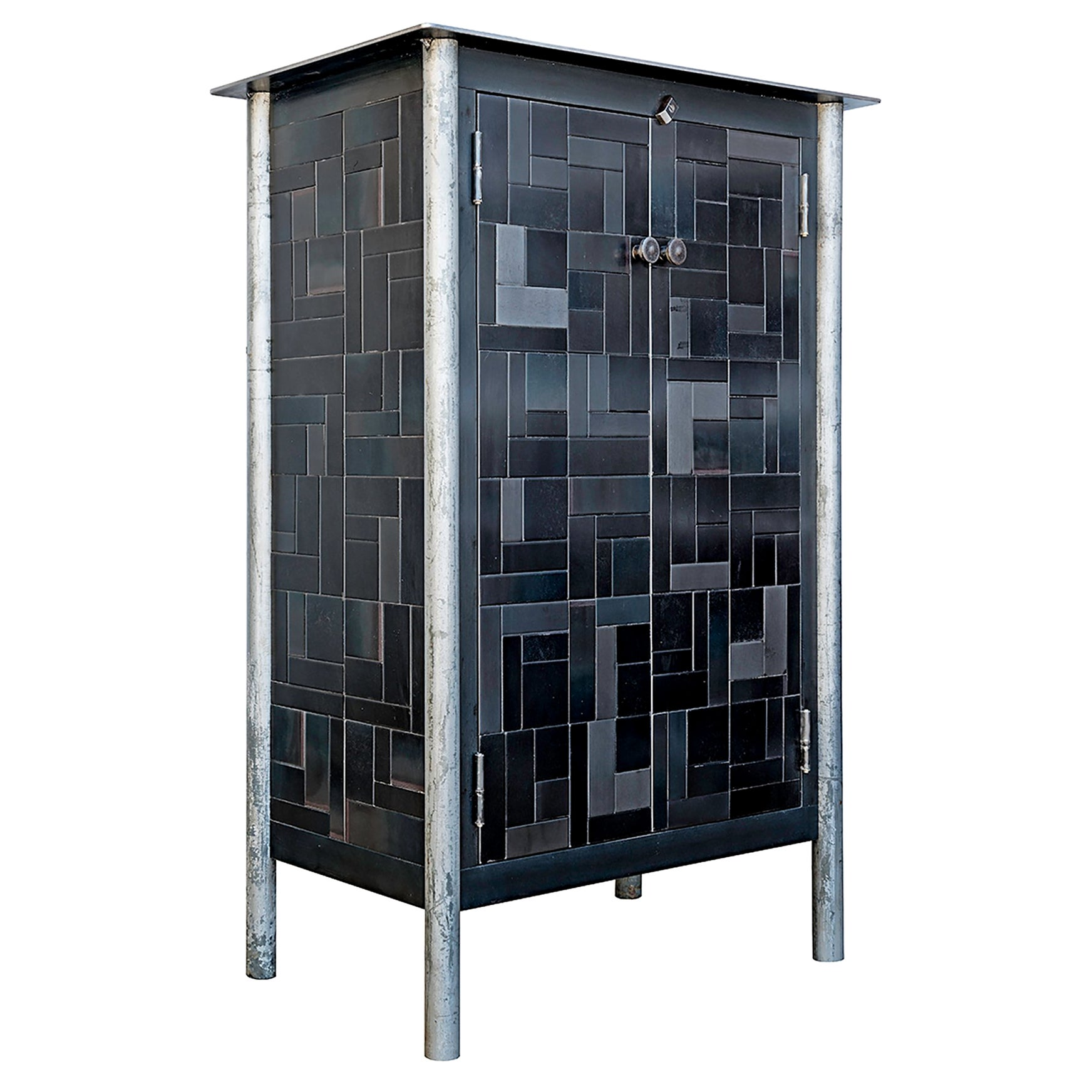 Jim Rose Half Housetop Gee's Inspired Quilt Cupboard, Steel Art Furniture