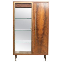 Midcentury Italian Modern Bronze, Burl Wood and Glass Bar Cabinet, 1960s