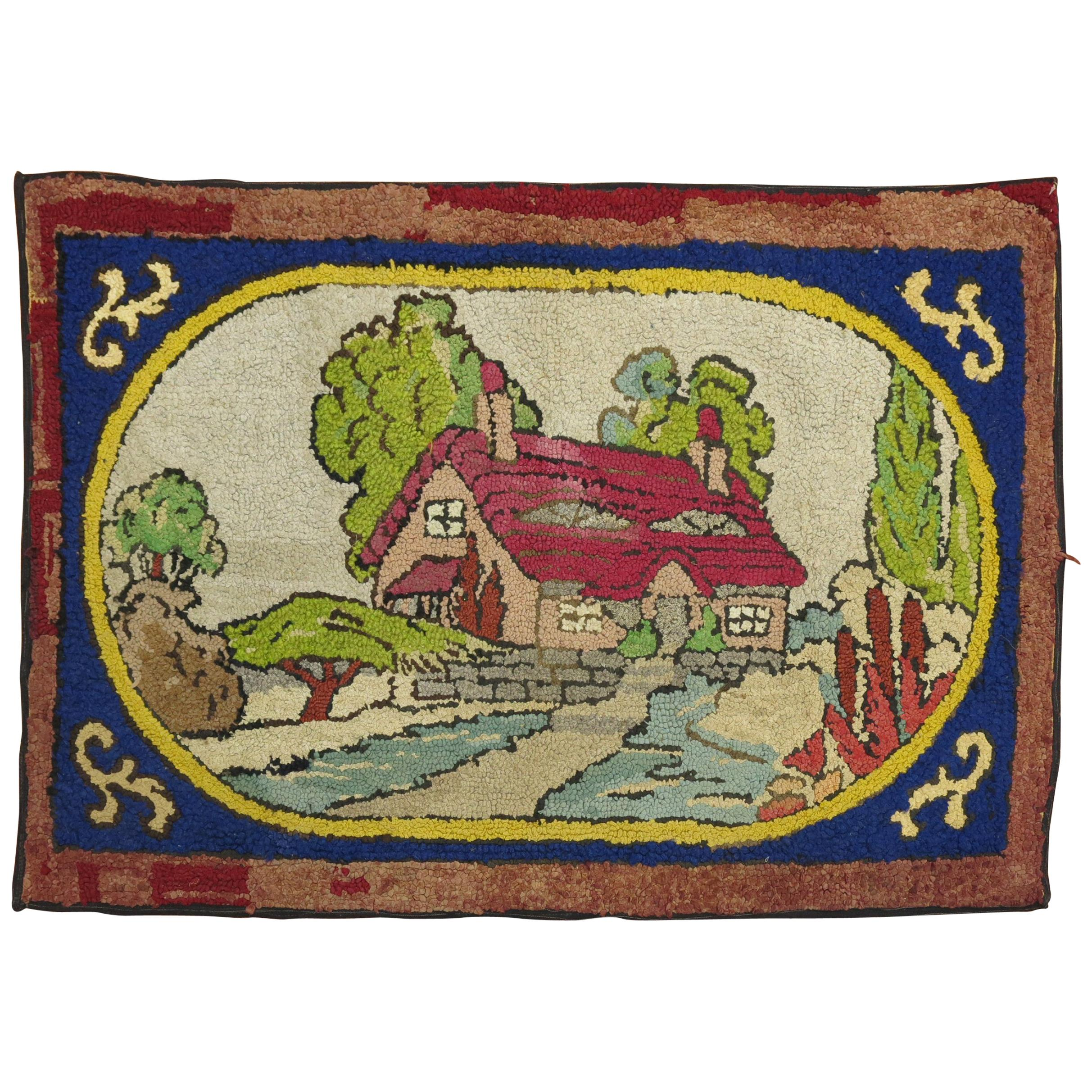 American Hooked Scenic Pictorial Rug