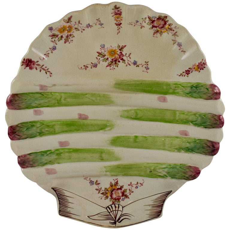 William Adderley English Staffordshire Shell and Floral Asparagus Plate For Sale