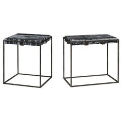 Set of Two End Tables in Antiqued Pewter and Black Marble for Indoor or Outdoors