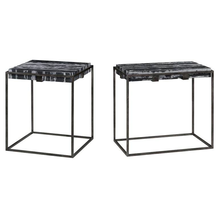 Set of Two End Tables in Antiqued Pewter and Black Marble for Indoor or Outdoors For Sale