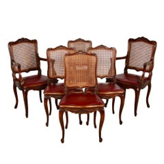 Set of Six Vintage French Louis XV Dining Chairs